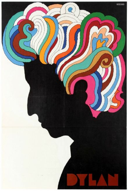Antique Original 1966 Psychedelic Bob Dylan Advertising Poster by Milton Glaser